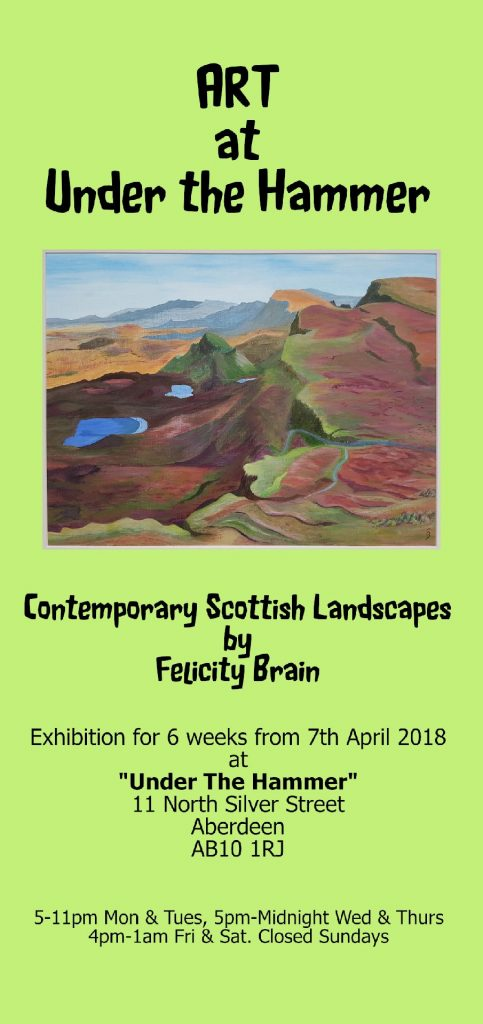 Flyer advertising Contemporary Scottish Landscapes Exhibition by Felicity Brain.